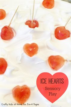 Valentine Ice Hearts Sensory and Science Activity for Preschool.