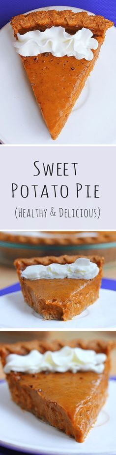 Ingredients: 2 large sweet potatoes, 1 tsp vanilla extract, 2 /2 tbsp... Full recipe: https://chocolatecoveredkatie.com/2015/11/16/healthy-sweet-potato-pie/ #thanksgiving #vegan #healthy #dessert #sweetpotato #pie #recipe