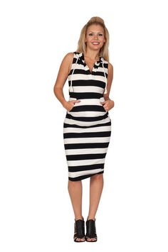 Sleeveless Striped Maternity Dress - Charmed By Chance – Mommylicious Maternity