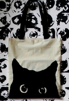 tote bag pintado a mano gatodarks