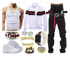 A menswear look from January 2018 by featuring Rocawear, Givenchy, Gucci, men's fashion and menswear Dope Outfits For Guys, Swag Outfits Men, Stylish Mens Outfits, Nike Outfits, Boy Outfits, Hype Clothing, Mens Clothing Styles, Latest Looks For Men, Timberland Outfits Men