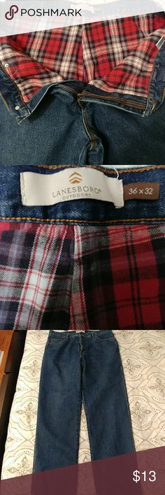 Men's Lanesboro Flannel Lined Jeans Men's Lanesboro Flannel Lined Jeans. Gently Used. Heavyweight. Great For Autumn and Winter Weather. Size 36x32. Lanesboro Jeans
