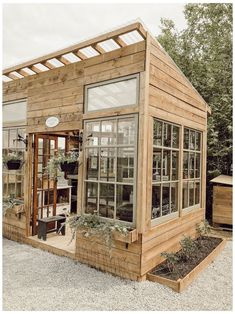 Backyard Greenhouse, Backyard Landscaping, Wood Greenhouse Plans, Window Greenhouse, Greenhouse Ideas, Backyard Patio, Landscape Design Plans, House Landscape, Dream Garden