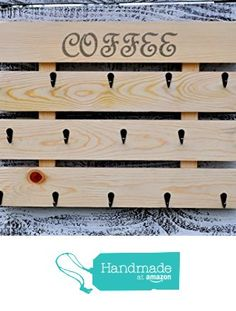 Rustic pallet wood coffee cup rack 15 mug hooks XL from Reclaimed Oregon… Coffee Cup Rack, Coffee Mug Holder, Coffee Cups, Birthday Gift For Him, Valentines Gifts For Her, Christmas Gifts For Mom, Wood Pallet Art, Wood Pallets, Brown Home Decor