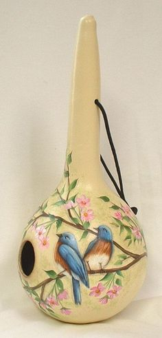 Blue Bird and Cherry Blossoms Gourd Birdhouse by FromGramsHouse: