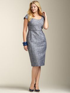 Emma Chambray Dress from Talbots. Love the seaming and structure. #plussize