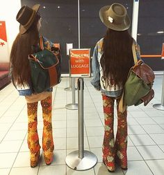Jetsetting for the long weekend! We  this shot of @nofrillstwins in our matching Sahara and Casablanca flares  #flares #bellbottoms #festivalfashion #festival #rave #fashion #design #glam #boho #hippie #gypsy #style #retro #vintage #babe #love #photooftheday #amazing #smile #look #instalike #instadaily #girl #bohofestivals #bestoftheday #instacool #instago #colorful #style #longweekend