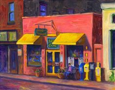 Morning Light at the Sunnyside Cafe, Downtown Weaverville  Oil Painting on Canvas----  Jeff Pittman