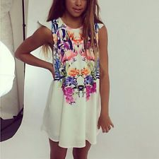Women's Lady Casual Summer Sleeveless Floral Cocktail Party Mini Dress