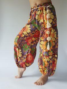 Flora soft cotton baggy unisex harem pants with POM POM belt , Low Crotch Yoga Trousers gypsy pants,aladdin pants ,boho pants (FP004) by IndycraftsDesigns on Etsy https://www.etsy.com/listing/474241622/flora-soft-cotton-baggy-unisex-harem