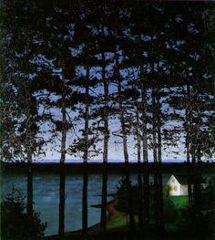 Harald Oskar Sohlberg (Norwegian, 1869-1935), Fiskerens stue [Fisherman's cottage], 1907, painting