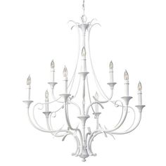 Embellish your favorite living space with the sophisticated Peyton nine-light chandelier. This effulgent fixture spotlights decorative metal accents and a stunning semi gloss white finish.