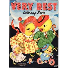 1941 Very Best Coloring Book Chicken Family Merrill