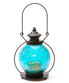 Another great find on #zulily! Blue Molded Glass Flameless Lantern #zulilyfinds