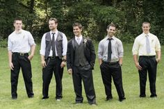 Mismatched groomsmen in grey, black & pops of yellow. From Brittany & Nelson's handmade, yellow themed rustic Virginia wedding. Film images by Holly Cromer Photography.