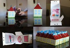 Mini peppa houses for the favor boxes? Invitacion Peppa Pig, Cumple Peppa Pig, Party Invitations, Party Favors, Pig Party, 4th Birthday Parties, Favor Bags, Frozen, Pastel