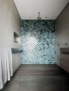 #bathroom - open shower with tile feature wall (tiles are hand-glazed scalloped/fish-scale blue tiles from Urban Edge Ceramics in Melbourne)