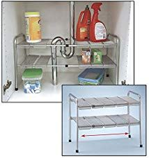 ATB 2 Tier Expandable Adjustable Under Sink Shelf Storage Shelves Kitchen Organizer Oh my gosh, this would help get my home organization under control! Small Bathroom Organization, Bathroom Storage, Kitchen Storage, Home Organization, Diy Kitchen, Organization Ideas, Storage Ideas, Rv Bathroom, Storage Solutions