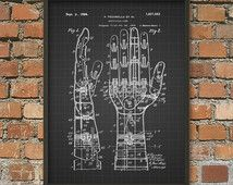 Artificial (Prosthetic) Hand Patent Wall Art Poster   Steampunk Bionic Print Part 69