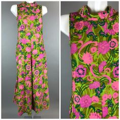 7d42da24a48 Vtg 70s Hawaiian Floral Wide Leg Jumpsuit Palazzo Pink Green Flowers Hippie   Unbranded  Jumpsuit
