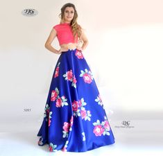 Two-Piece Floral Pattern Ball Gown in Royal Blue Style 5095 by Miracle Agency Two Piece Gown, Bridal And Formal, Blue Style, Floral Print Skirt, Lace Crop Tops, Formal Evening Dresses, Blue Fashion, Printed Skirts, A Line Skirts