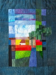 Liske Johnson and Claire Lundy are organising half and full day workshops where you will have the opportunity to dye your own fabrics with procion dyes or indigo, make a bag, print your fabric with. House Quilt Patterns, House Quilts, Art Textile, Textile Artists, Small Quilts, Mini Quilts, Textiles, Landscape Art Quilts, Contemporary Quilts