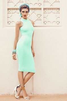 Our Laia High Neck Dress is a sleeveless, bodycon piece your wardrobe will love. This fitted garment features a simple silhouette and finishes at the knee. http://www.mishacollection.com.au/shop/laia-high-neck-dress-365.html