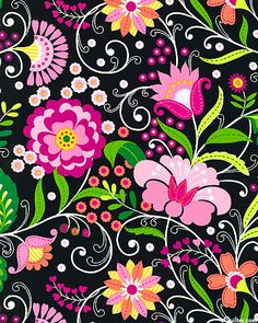 Floral Whimsy - Garden Stitches - Black.  Large scale flowers with printed stitch details recall a lovely embroidered shawl or graphics from Eastern Europe. Filled with jeweled colors sparkling over a solid ground, this fairytale garden will enchant you!