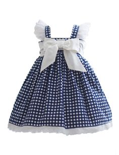 Blue Gingham Dress - Kinder Kouture - August 03 2019 at Little Dresses, Little Girl Dresses, Girls Dresses, Blue Gingham, Gingham Dress, Navy Blue, Baby Dress Patterns, Baby Sewing, Toddler Dress