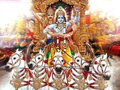 Arjuna and Krishna on chariot Sri Rama, Cute Krishna, Goddess Lakshmi, Bhagavad Gita, Lord Krishna, Deities, Mythology, Iphone Wallpaper, Anime
