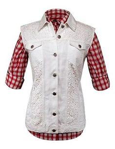 1149b1b01a8 Outback Trading Vest Womens Pearl Denim Crochet Light S White 29586 Western  Vest