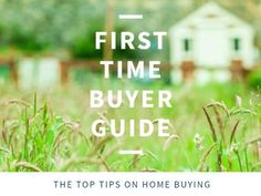 A creative template for a first-time buyer post. A modern background with a background image of a house and a garden with white text displaying 'First time buyer guide'.