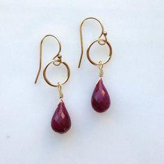 deep red ruby briolette and gold hoop earrings by KKSparkles