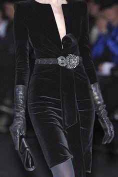 Black velvet and leather