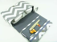 Chevron diaper bag, diaper clutch, grey diaper purse with clear zipper pouch, baby shower gift