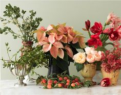 Blush-colored poinsettias are also a lovely foil to other flowers in an arrangement