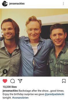 J2 is gonna be on Conan. Jensen's instagram