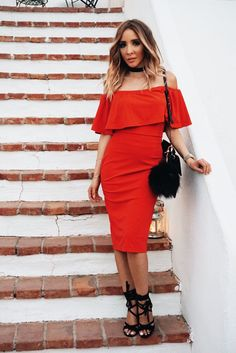 My Favorite Ruffle Off Shoulder Dress - Red – Haute & Rebellious