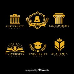 Colorful university logo collection with flat design Free Vector Design Plat, Flat Design, Web Design, Logo Club, Education Logo Design, Examples Of Logos, Sign System, Dream School, University Logo