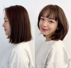 Pin on Beauty Pin on Beauty Side Fringe Hairstyles, Curly Bob Hairstyles, Girl Short Hair, Short Girls, Medium Hair Styles, Short Hair Styles, Before After Hair, Korean Short Hair, All Jeans