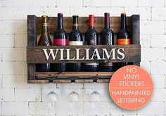 Personalized Wine Rack - Wall Hanging Personalized Gift - Family Name Wood Wine Holder - Organizer - Gift - Sale Unique Wine Racks, Modern Wine Rack, Rustic Wine Racks, Wood Wine Holder, Wine Rack Wall, Wine Glass Holder, Hanging Wine Rack, Hanging Organizer, Wine Rack Inspiration