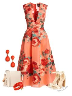 """Floral Midi Dress"" by mrskrodd ❤ liked on Polyvore featuring Lela Rose, Elizabeth and James, Tory Burch and Loren Hope"