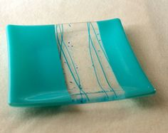 Turquoise  Fused Glass Plate - LOVE the opaque and clear glass!