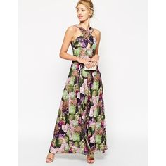 ASOS Floral Print Cross Front Maxi Dress (1,850 MXN) ❤ liked on Polyvore featuring dresses, floral, floral print maxi dress, maxi dress, cross dress, tall dresses and white maxi dress