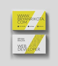 Minimal Web Developer Business Card Design #businesscards #minimaldesign #minimalistic #psdtemplate