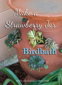 strawberry jar birdbath