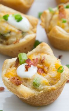 Loaded Mashed Potato Cups- these make great appetizers all year round.