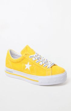cd37839a55c Converse x MadeMe Women s Yellow One Star Platform Sneakers at PacSun.com