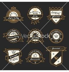 Set of monochrome label logo and badge vector - by Snitovets on VectorStock®