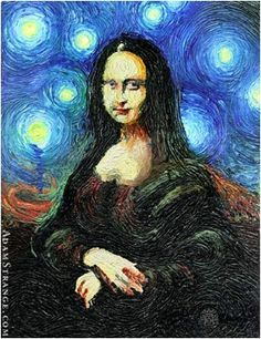 Combine two famous artworks, choose one artist's style - Starry Night Interpretations